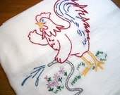 Flour Sack Dish Towel Cotton Dish Towel Gardening Rooster Dish Towel Chicken Tea Towel Hand Embroidered Dish Towel