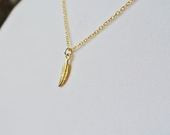 Gold Feather Pendant Gold Filled Necklace