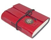 Red Faux Leather Journal with Steampunk Bookmark - Ready to Ship -