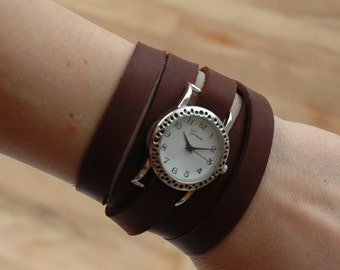 Leather Wrap Watch,Cuff Bracelet, Brown Leather watch, Retro Vintage watchface