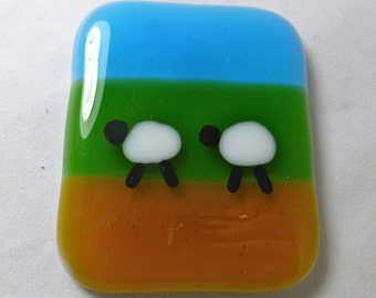 Fused Glass Magnet with Two Sheep in a Field