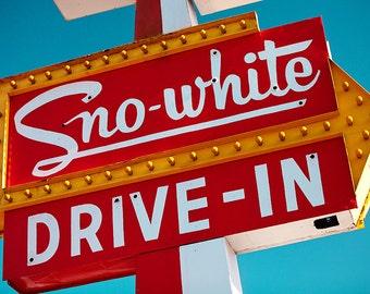 Santa Cruz Sno White Drive-In - Mid Century Modern - Neon Sign - Retro Kitchen Decor - Red and Teal Decor - Fine Art Photography