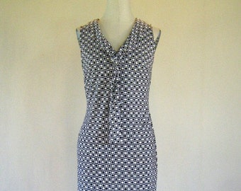 Mod Black & White Square Pattern Dress
