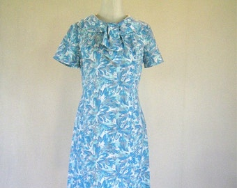 1960s Blue Watercolor Splash Secretary Dress