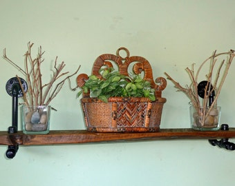 Industrial Pipe and Reclaimed Wood Shelf