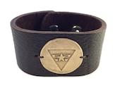 Espresso Deep Brown Leather Cuff Independent Army bronze medallion