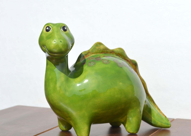 Reserved for megan sale ceramic dinosaur piggy bank by - Dinosaur piggy banks ...
