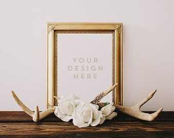 Gold Frame with Deer Antlers & Roses, Wood Desk, Flowers, Stock Photography, Product / Frame Mockup Frame Mock Up, Wall Art Display Template