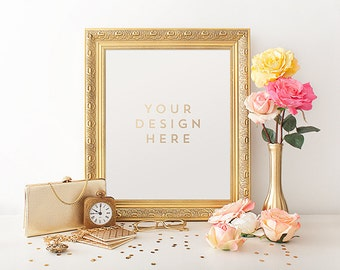 Gold Frame with Clock, Purse, Spring, Product / Frame Mockup Frame Mock Up for Bloggers, Wall Art Display Template Styled Desk Photography