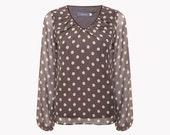 SALE Chiffon blouse - polka dot blouse - brown blouse - chiffon top - evening blouse - long sleeve blouse - womens blouses