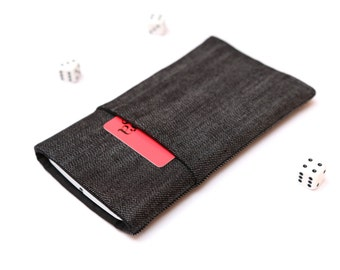 Microsoft Lumia 950, Lumia 950 XL sleeve case cover pouch handmade dark jeans and black with pocket