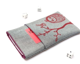 Microsoft Lumia 950, Lumia 950 XL sleeve case cover pouch handmade light jeans and purple with a pocket and red Owl