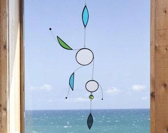 Mobile,Aqua mobile,Glass mobile,Beach home decor,Glass suncatcher,Stained glass suncatcher,Children mobile,Baby mobile,En Bleu et Verre