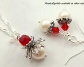 Red Bridesmaid Jewelry Set - Red Bridesmaid Earrings - Red Bridesmaid Set - Ivory Pearl Earrings - Red Earrings - Red Bridal Jewelry