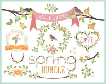 Birds on Branches, Laurels & Wreaths, Banners and a Twig Alphabet Clipart Bundle in Pastel for Spring Designs Including Vector Files