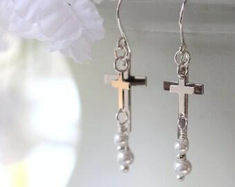 Double Cross Earrings, Dangle Earrings, Drop Earrings, Chandelier Earrings, Christian Jewelry, Bridal Jewelry, Wedding Earring, Mother's Day