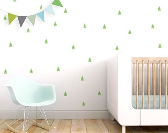 Patterned Pine Tree Wall Decal Woodland Tree Stickers Kids Wall Decal Baby Nursery  Wall Decal Forest