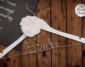SALE Personalized Wedding Dress Hanger with Rhinestone Flower Accent