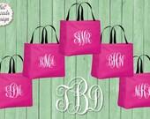 FREE TOTE set of 7 or MORE, Bridemaid Tote, Embroidered Bag, Monogram Bag, Monogram Tote, Wedding Tote, Bridesmaid Gift, Monogrammed