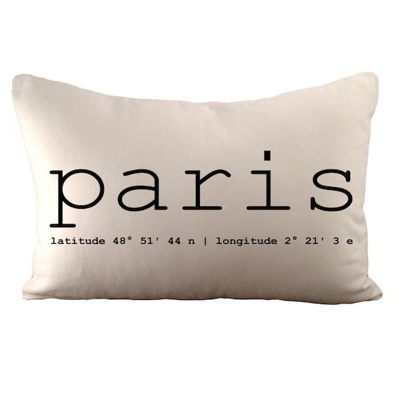 Paris Coordinates OR Custom Coordinates - Cushion Cover - 12x18