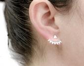 Silver Triangle Ear Jacket, Sterling Silver, Silver Spikes Earjacket, Geometric Earrings,Stud Earrings, Modern Jewelry, Gift for Mom, EJK001