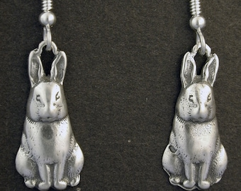 Sterling Silver Rabbit Earrings on Sterling Silver French Wires