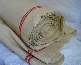 antique french unused natural hemp fabric with red stripes