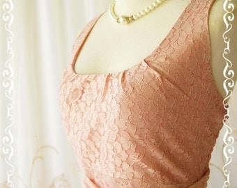 My Lady - Nicely Pink Nude Lace Dress Vintage Design Lace Sundress Party Dress Pink Lace Bridesmaid Dress Spring Summer XS-XL Custom