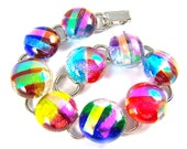 "Dichroic Bracelet - Bright Multicolored Rock Drop Fused Glass Red Blue Green Pink Cat Eye Rainbow Round- 5/8"" 2cm"