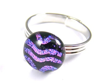 """Tiny Adjustable Glass Ring - 1/4"""" 7mm - Purple Pink Black Squiggle Striped Pattern Fused Dichroic"""