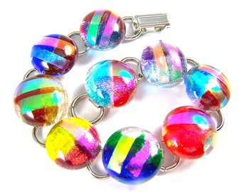 """Dichroic Bracelet - Bright Multicolored Rock Drop Fused Glass Red Blue Green Pink Cat Eye Rainbow Round- 5/8"""" 2cm"""