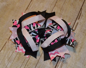 Pink Minnie Mouse OTT Hairbow