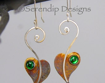 Patina Sterling Silver Lilac Leaf Earrings, Heart Earrings with Green Paua Shell, Abalone Dangle Spiral Silver Earrings
