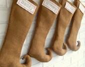 Christmas Stocking Monogrammed - Burlap Elf Stocking - Holiday Decor - Farmhouse Industrial Modern - Pixie