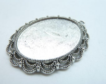 5pcs 40x54mm-30x40mm Antique Silver Oval Cameo Cabochon Base Setting c7484