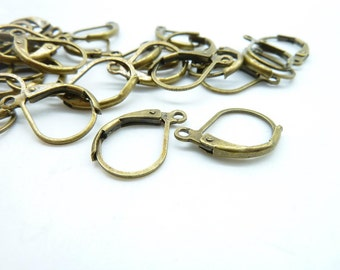 30pcs 10x14mm Antique Bronze Brass French Earring Hook Earwires c5130