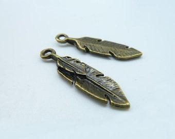 20pcs 8x30m Antique Bronze Mini Double Feathers Charms Pendant c371