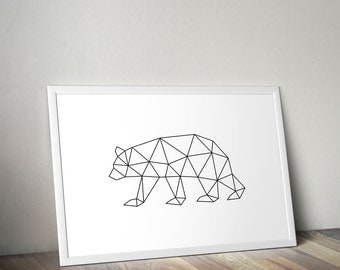 Geometric Bear Print Bear Art California Bear Illustration Triangles Origami String Wire Black Brown Nursery Wall Decor Modern Minimalist