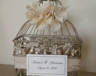 Hydrangeas Lace and Pearls-Champagne Bird Cage-Wedding card holder
