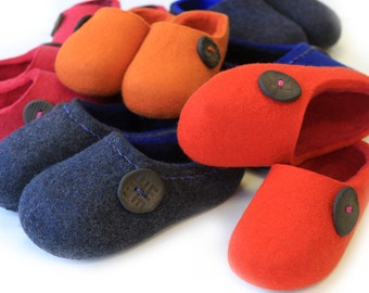 Wool Felted Slippers in Red, in Orange,in Pink, in Blue. Made to order.