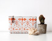 Tribal Screen Printed  Leather Pouch  Tangerine  No. Tzp-101
