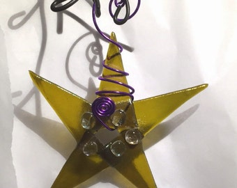 Chartreuse Fused Glass Star Ornament