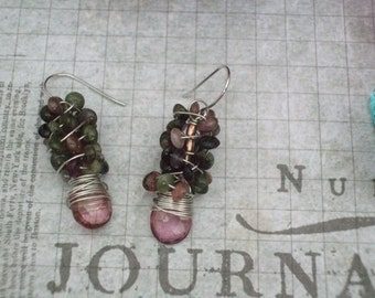 Pink Mystic Quartz and Tourmaline Earrings