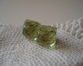 Vintage Peridot Etched with Gold Pyramid Glass Cabochons Stud Pierced Earrings