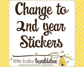 Monthly Bodysuit Stickers, Change to 2nd Year Stickers, Months 13 to 24, Monthly Baby Stickers, Baby Month Stickers, Milestone Stickers