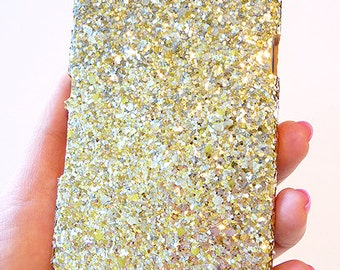 For Sony Ericsson Xperia Z L36H Gold Silver Specks Sequin Cluster Cell Phone Bling Hard Case Cover