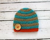 Crocheted Baby Button Hat - Orange, Taupe & Turquoise