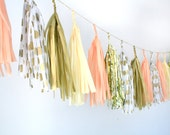 Gold, Peach, Champagne Tassel Garland - Valentines Day . Nursery Decor . Gender Reveal Party . Baby Shower Decorations