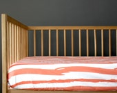 CORAL STRIPES - crib sheet- coral baby girl nursery - crib fitted sheet-  changing pad cover