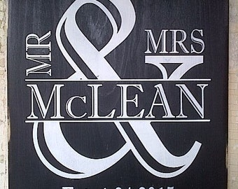 Personalized Mr. and Mrs. wooden sign by Dressingroom5 for wedding, anniversaries